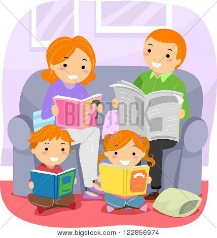 Stickman Illustration Featuring a Family Reading Together