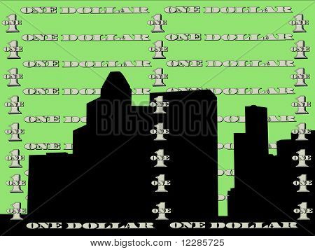 Houston skyline against one dollar bill illustration JPG