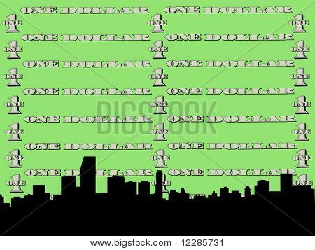 Miami skyline against one dollar bill illustration  JPG