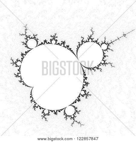 High resolution black and white full Mandelbrot fractal pattern background