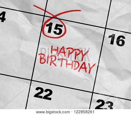 Concept image of a Calendar with the text: Happy Birthday