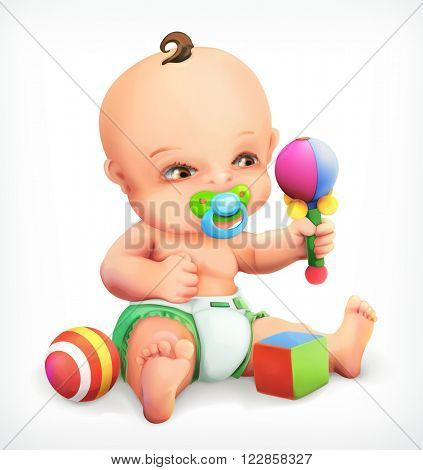 Kid with a rattle, baby with pacifier, an infant in nappies, a little boy exploring his toys are maraca, vector icon