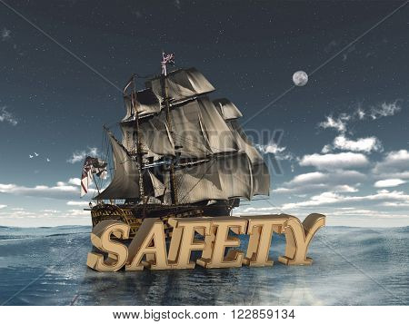 SAFETY bright word night sky boat moon sea on white background