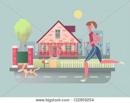 Woman run with dog on street. Pet running, sport outdoor girl, healthy jogging, vector illustration