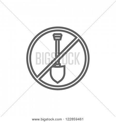 Shovel forbidden sign line icon.