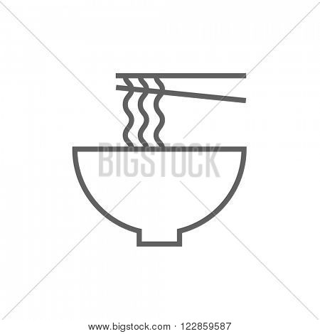 Bowl of noodles with pair chopsticks line icon.