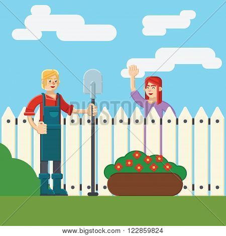 Flat colorful vector illustration. woman and man near fence wicket