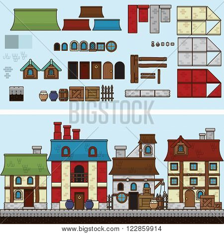 Old stone and wooden houses. Vector flat illustration and sprite for game