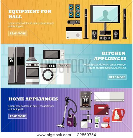 Consumer electronics store banners set. Vector illustration. Design elements in flat style. Home related devices, oven, TV, wash machine, refrigerator.