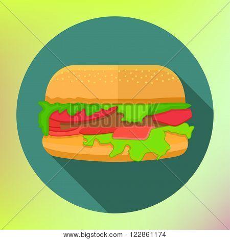 hamburger icon with long shadow. flat style vector illustration. hamburger flat design vector icon. burger flat vector. Flat hamburger symbol with long shadow. fastfood illustration.