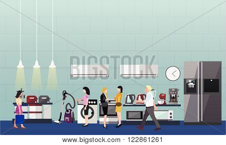 People shopping in a mall. Poster concept. Consumer electronics store Interior. Colorful vector illustration. Design elements and banners in flat style. Laptop, TV, wash machine, phone.