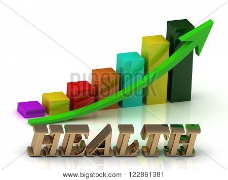 HEALTH bright of gold letters and Graphic growth and green arrows on white background
