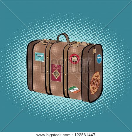 Suitcase with stickers, travel, luggage, vacation pop art retro background is a comic style .