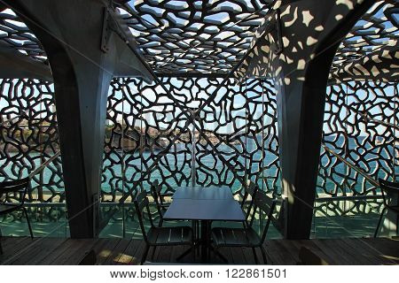 MARSEILLE, FRANCE - November 19, 2015 : Two photographed  in the modern building of Museum of European and Mediterranean Civilizations (MuCEM). It was  inaugurated on 2013 when the city was the European Capital of Culture
