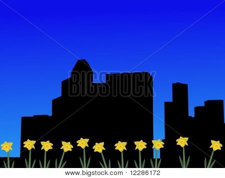 Houston skyline in spring with daffodils illustration