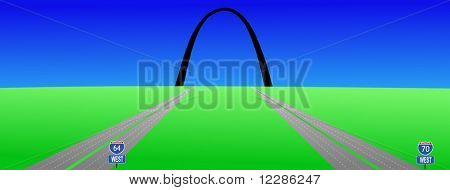 two interstates leading to Gateway arch St louis