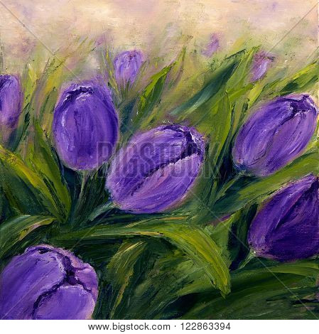 Original oil painting showing purple tulip flowers bouquet. Genus of perennial bulbous plants in the lily family .Modern Impressionism modernismmarinism
