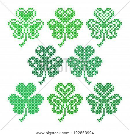 Set of embroidered leaves for greeting card Happy St. Patrick's Day. Embroidery.