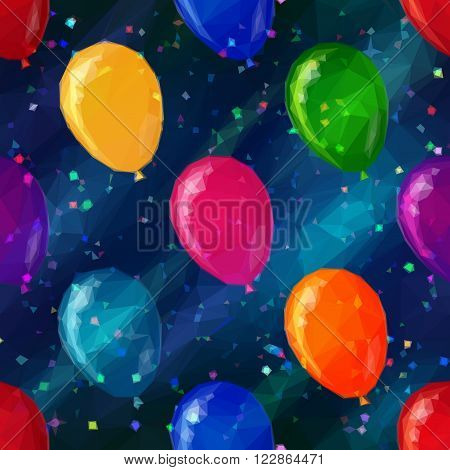 Balloons Flying in Space with Confetti, Low Poly Pattern, Colorful Background. Vector
