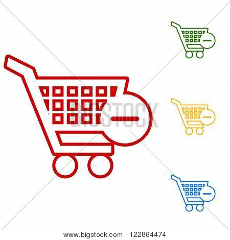 Vector Shopping Cart Remove Icon. Set of line icons. Red, green, yellow and blue on white background.