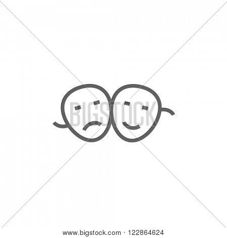 Two theatrical masks line icon.