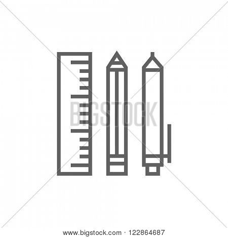 School supplies line icon.