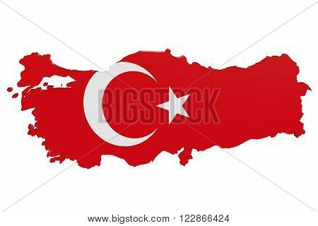 Map of Turkey in the colors of the national flag