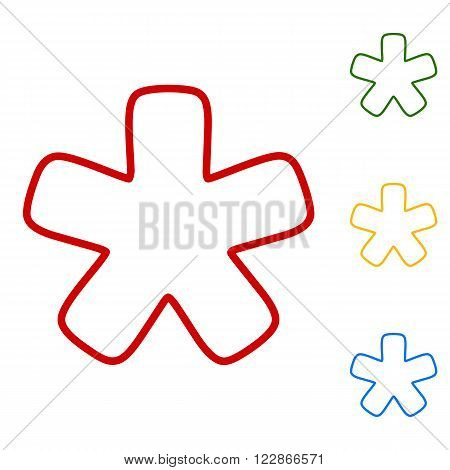 Asterisk star sign. Set of line icons. Red, green, yellow and blue on white background.