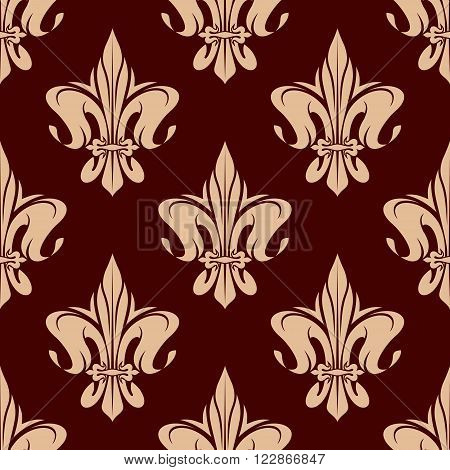 Seamless royal french fleur-de-lis pattern in brown and beige colors with ornament of heraldic lily flowers. Heraldry background, interior or wallpaper themes usage