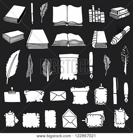 Monochrome Hand Drawn Illustrations of Big Set Books and pen. Doodle vector illustration isolated on black background.