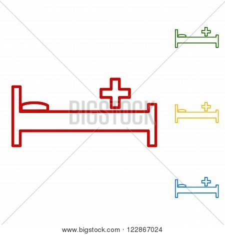Hospital sign. Set of line icons. Red, green, yellow and blue on white background.