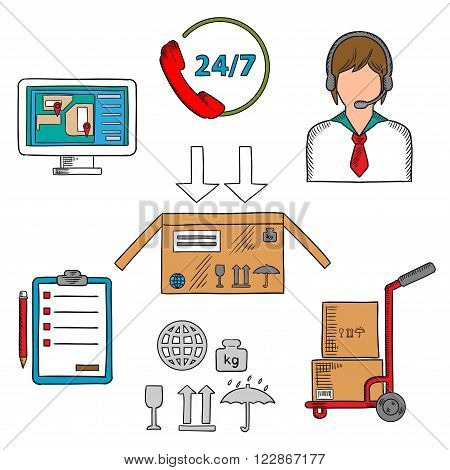 Delivery, shipping and logistics icons with symbols of delivery and packaging, call center operator and clipboard, navigation map marked with pointers, hand truck with packages and customer support