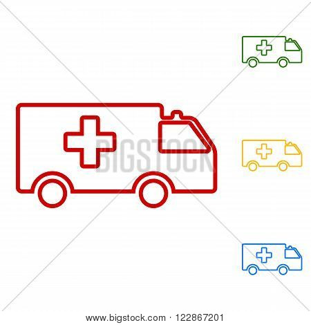 Ambulance sign. Set of line icons. Red, green, yellow and blue on white background.
