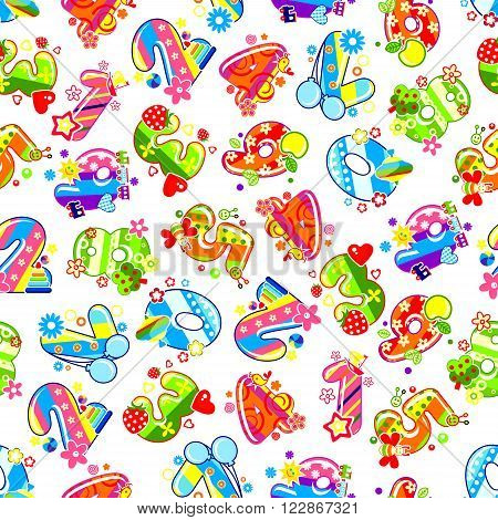 Childish numbers background for birthday party or childish room interior design with colorful digits, adorned by toys and fruits, hearts and air balloons, flowers, birds and butterflies