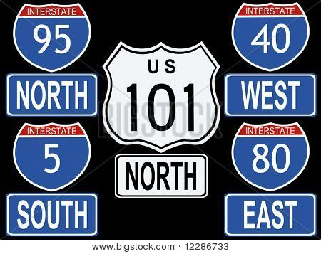 American Interstate and Highway signs illustration including highway 101 and interstate 95 JPG