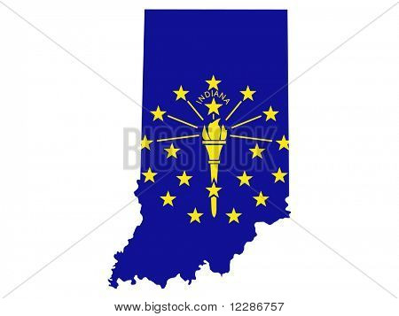 Map of the State of Indiana and their flag JPG