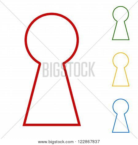 Keyhole sign. Set of line icons. Red, green, yellow and blue on white background.