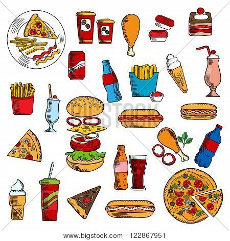 Cheeseburger and pepperoni pizza, hot dog with ketchup, mustard and mayonnaise, french fries and fried chicken legs,  pie and chocolate cake, paper cups of coffee and soda, ice cream and desserts