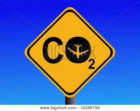 Warning CO2 emissions from air travel sign