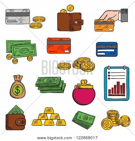 Money bag and dollar bills, golden coins and wallet, coin purse and credit card, stack of gold bars and financial report with growing bar graph. Finance, business, retail, payment themes