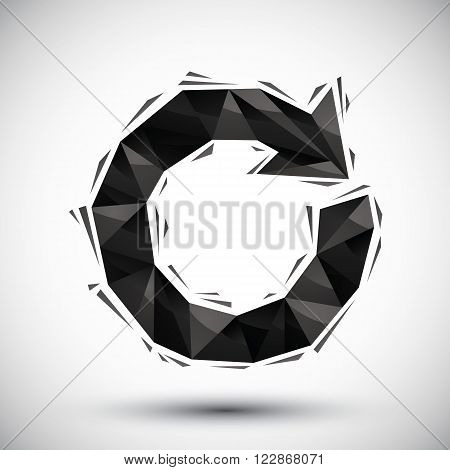 Black reload geometric icon made in 3d modern style best for use as symbol or design element for web or print layouts.