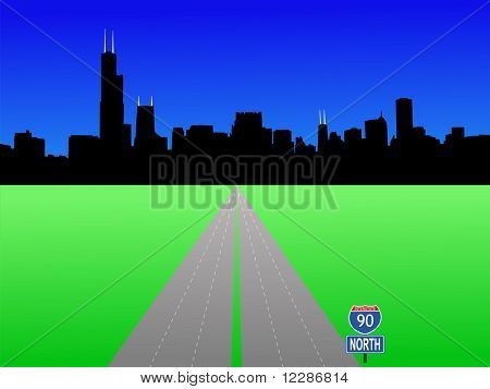 Chicago Skyline and interstate 90 illustration JPG