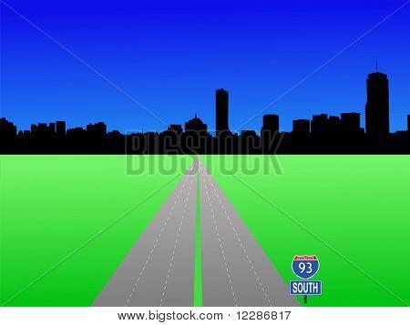 Boston skyline and interstate 93 illustration JPG
