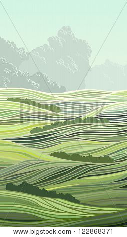 Vertical abstract illustration meadow field of green grass and sky with clouds.