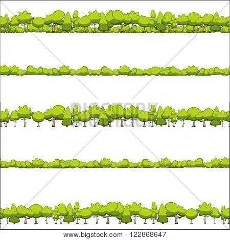 seamless horizontal pattern of trees and shrubs isolated