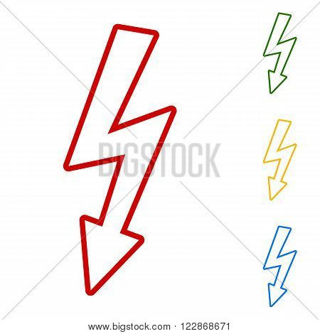 High voltage danger sign. Set of line icons. Red, green, yellow and blue on white background.