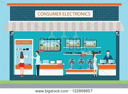 People in consumer electronics store Electronics store interior and exterior building laptops mobile phones television Computers pocket wifi camera and fan on shelf vector illustration.