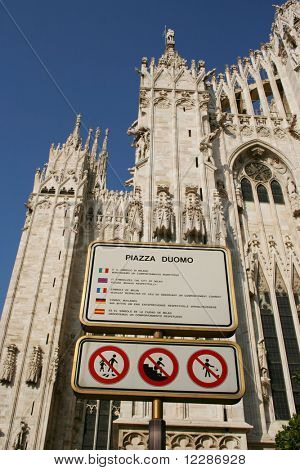 Multilingual respect the Piazza Duomo Sign Milan Italy