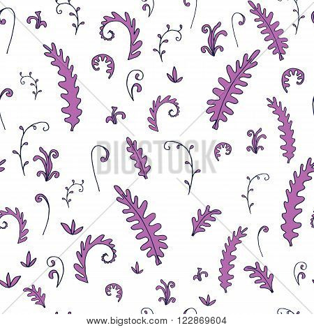 abstract vector seamless pattern with fern leaves, bushes and plants, hand drawn vector background
