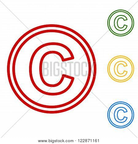 Copyright sign. Set of line icons. Red, green, yellow and blue on white background.